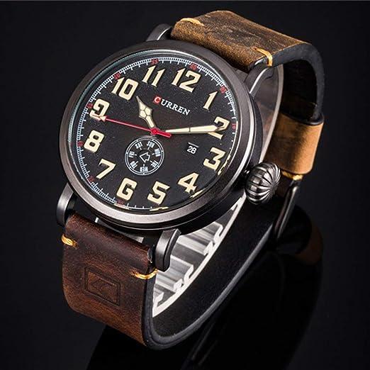 Curren 8283 Reloj Reloj Casual de Cuarzo Correa de Cuero Impermeable Reloj de Pulsera Durable Correa de Acero Hombre - Negro y Verde Militar: Amazon.es: ...
