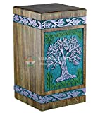 STAR INDIA CRAFT Urns for Human Ashes Adult, Rosewood Cremation Urns for Ashes, Funeral Urns, Burial Urns for Columbarium, Wooden Box Urns for Human Ashes - Large URNS Ashes (Purp on Green)