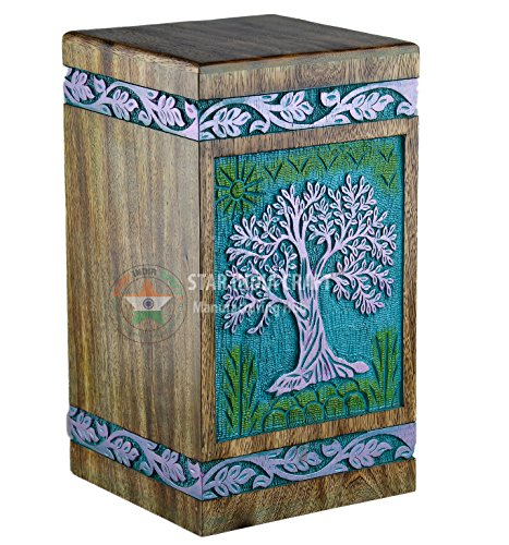 STAR INDIA CRAFT Urns Human Ashes Adult, Rosewood Cremation Urns Ashes, Funeral Urns, Burial Urns Columbarium, Wooden Box Urns Human Ashes - Large URNS Ashes (Purp on Green)