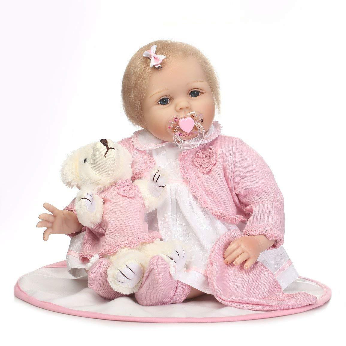 Reducción de precio Fantasyworld 55CM niños renacido de la muñeca de Silicona Suave Realista del recién Nacido Muñeca Linda del Regalo de cumpleaños para los niños niñas
