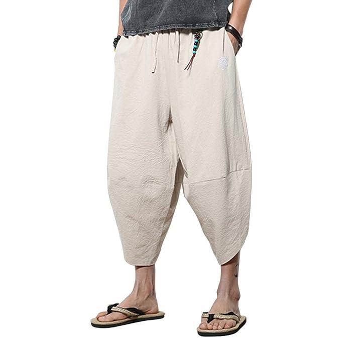 Zhhlinyuan Harem Pantalón Hombre Verano Boho Hippie Baggy Aladdin Pantalones  Algodón Lino Wide Leg Bombachos para 10166cd01819