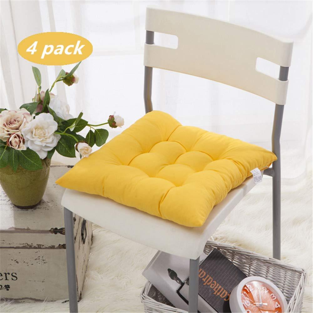 Lpimbgr 4er Set Stuhlkissen Sitzkissen, ca. 40x40 cm,100% Baumwolle Dicke Polsterung Steppkissen/Bodenkissen, fü r drinnen und drauß en (Dunkelblau)