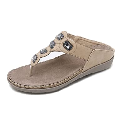 072d854bed04d Mobnau Women s Fashion Jeweled Leather Thong Sandals Flip Flops Beige 36  5.5 D(M)