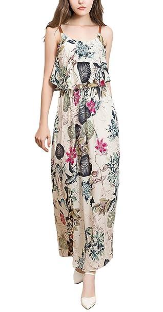 Vestidos Largos De Verano Mujer Elegantes Sin Mangas Flores Estampado Vintage Fashion Suelta Casual Vestido Boho