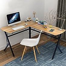 Soges L-Shaped Desk Computer Desk Multifunctional Computer Table Workstation, Teak S1T-TCA-N