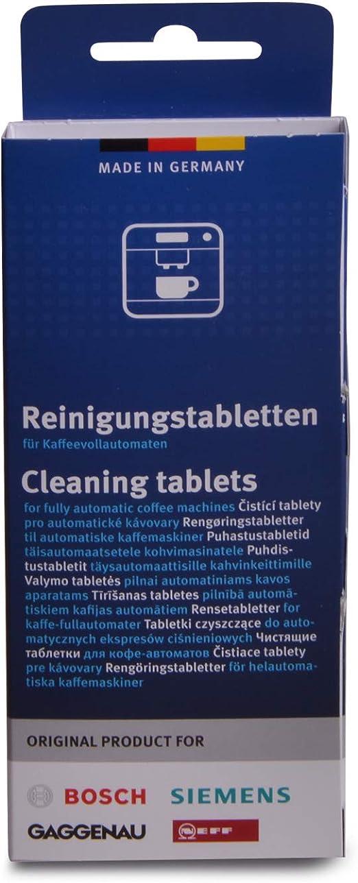 Bosch 00311969 - Pastillas de limpieza para cafetera y termo (10 ...