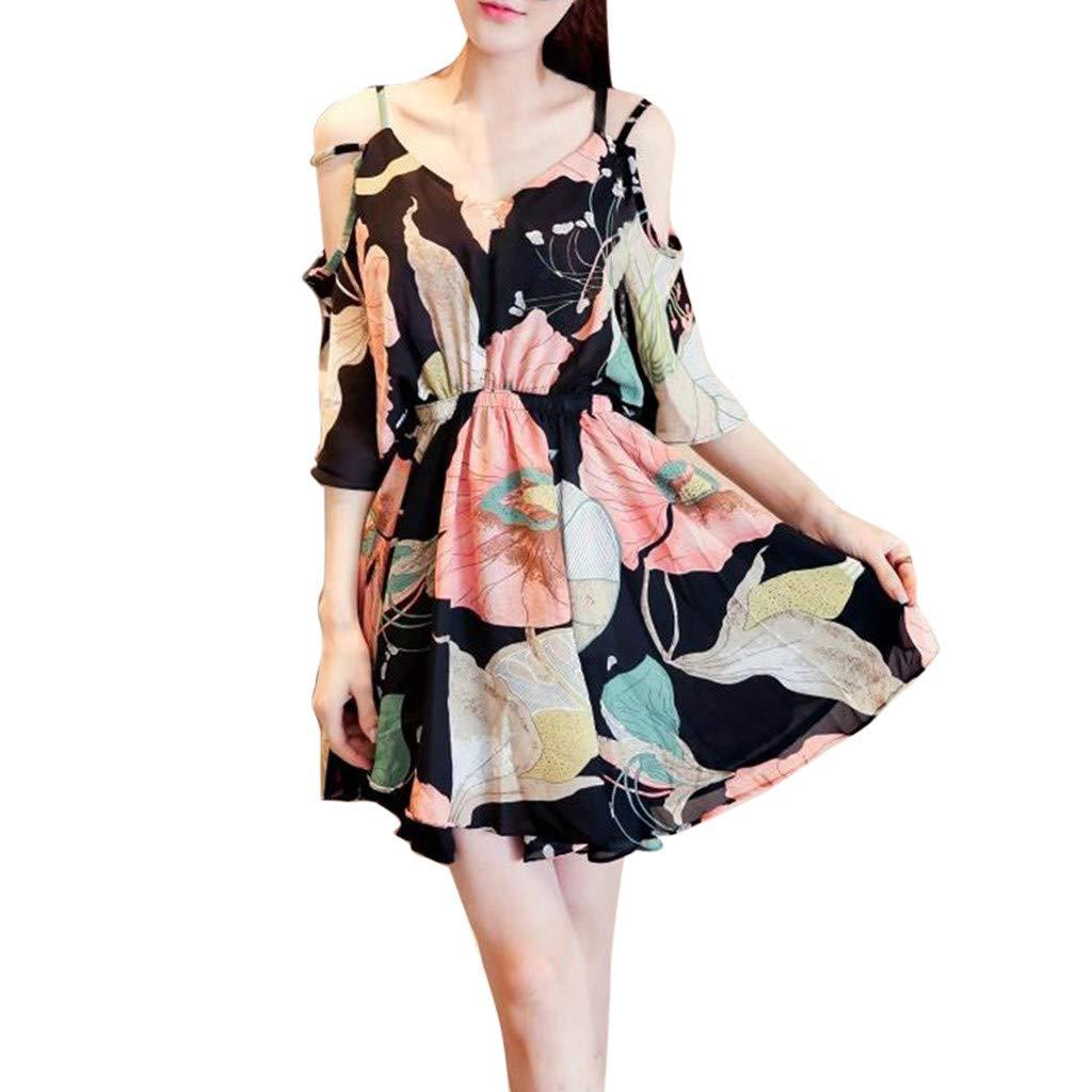 Garish Woman's Summer Off Shoulder,Floral Printing Short Sleeve, Loose Strap Floral Dress