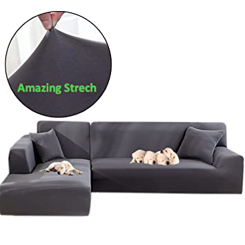 Taiyucover Stretch L-Shaped Sofa Slipcover;2PCS Sectional Sofa Cover;  Furniture Protectors for Living Room L-Shape Couch (Grey, L-Shaped(2  Seater+2 ...