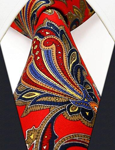 WZW Herren Krawatte Krawatte roter Blumen 100% Seide lässige Mode für Männer
