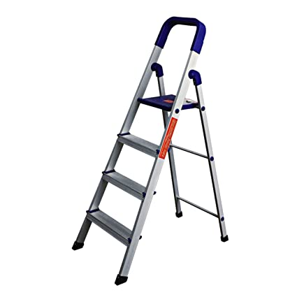 Parasnath Home Pro 4 Step�4.1 Ft�Light Weight Aluminium Heavy Duty Folding Ladder(Made in India)