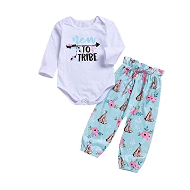 ba047dd6c for 0-2 Years Baby Girls,Cute Children Kids Baby Girls 2PCS Toddler Baby  Girls Letter Print Long Sleeves Romper+Print Pants Set Outfit Autumn Clothes  Black: ...