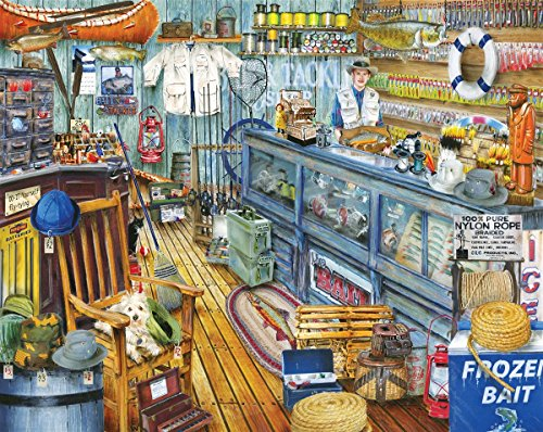Springbok Puzzles - The Bait Shop - 1000 Piece Jigsaw Puzzle - Large 30 Inches by 24 Inches Puzzle - Made in USA - Unique Cut Interlocking Pieces ()