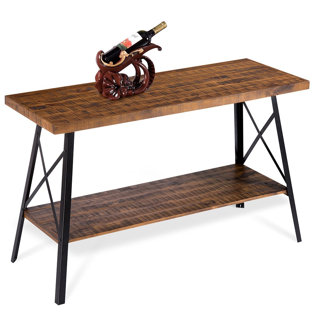 Olee Sleep 48'' Chandler Solid Wood & Dura Metal Legs Sofa Table / TV stand / End Table/ Side Table / Accent Table / Office Table/ Computer Table / Dining Table / Natural Wood Top, Rustic Brown by Olee Sleep (Image #5)