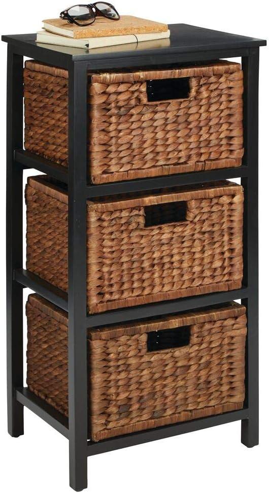 cucina o soggiorno Organizer per camera da letto mDesign Comodino con 3 cassetti portaoggetti Compatto mobile con cassetti in giacinto dacqua intrecciato nero//marrone scuro