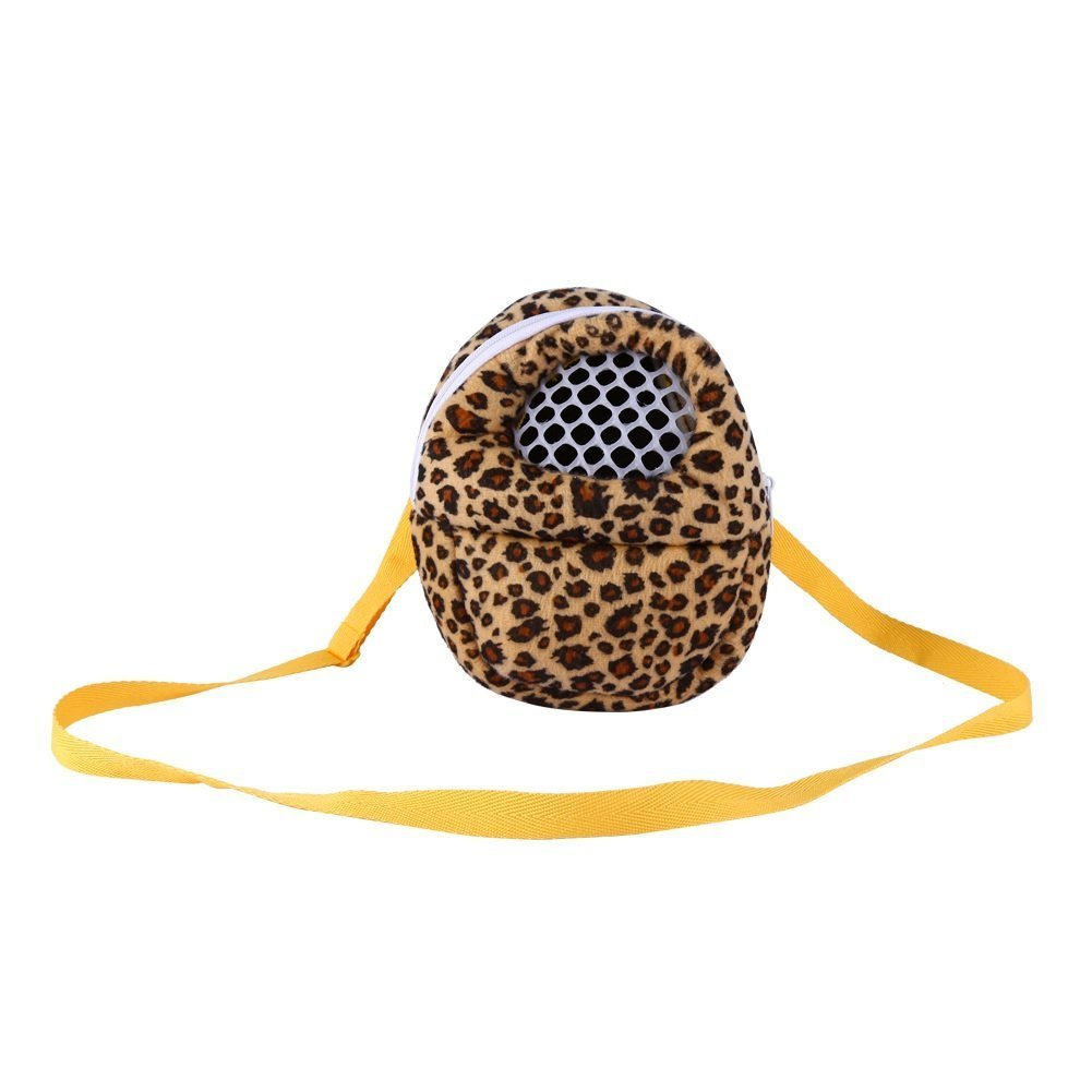 Three Size Small Pets Carrier Bag Hedgehog Hamster Mouse Outgoing Bags Leopard Portable Travel Backpack With Strap , Three Color ( Color : Yellow , Size : S(13CM×18CM) ) Yosoo