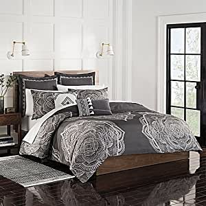Amazon.com: Shalini King Duvet Cover Set in Charcoal Gray Grey …: Home & Kitchen