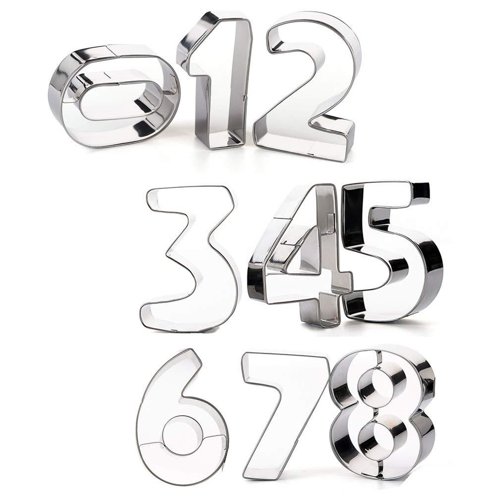 Kanggest 3D Moldes de Galletas 9pcs cortador de galletas de acero inoxidable Molde de pastel con formas de árabe Numero Galletas Moldes herramientas para ...