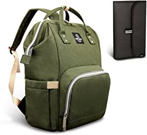 Pipi bear Nappy Changing Bag, Multi-Functional Waterproof Travel Diaper Bag Backpack with Changing Pad (Olive Green)