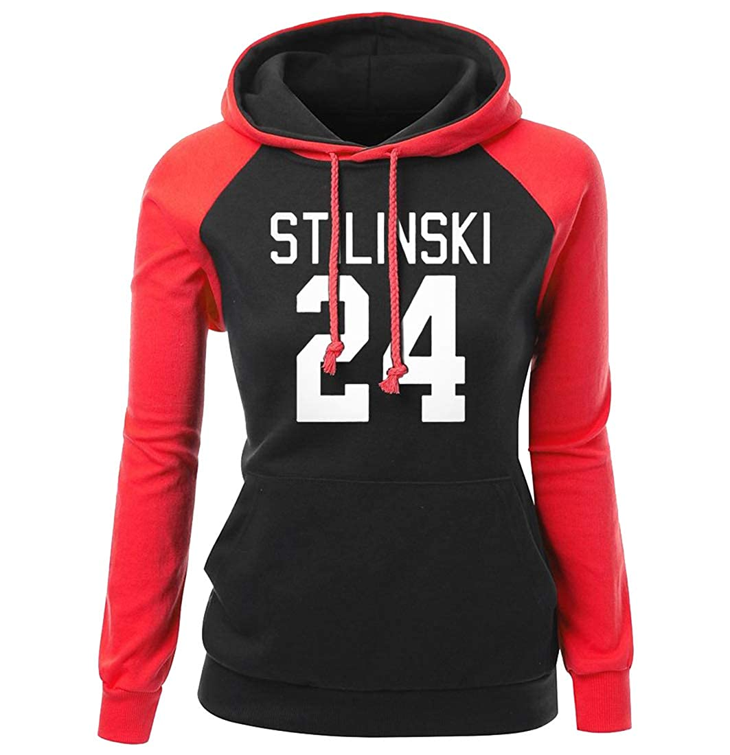 XiaoTianXin-women clothes XTX Womens Letter Print Casual Relaxed Fit Patchwork Pullover Hoodies Sweatshirt