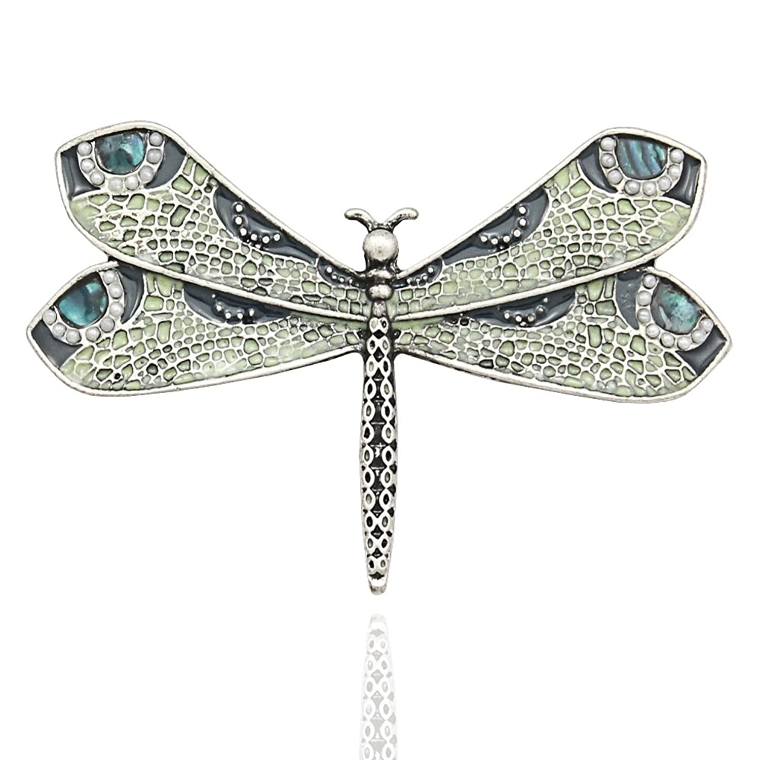 Silver-Tone Q&Q Fashion Retro Art Nouveau Victorian Dragonfly Simulated - Pearl Wing French Lapel Brooch Pin Badge