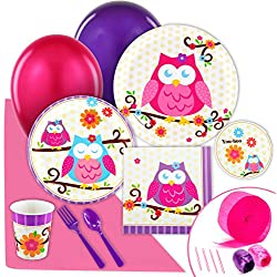 BirthdayExpress Owl Blossom Party Supplies - Value Party Pack