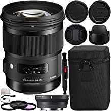 Sigma 50mm f/1.4 DG HSM Art Lens for Canon EF with MC-11 Mount Converter/Lens Adapter (Canon EF-Mount Lenses to Sony E) Bundle. Includes Manufacturer Accessories + 3PC Filter Kit (UV-CPL-FLD) + Lens Pen + Cap Keeper + Microfiber Cleaning Cloth