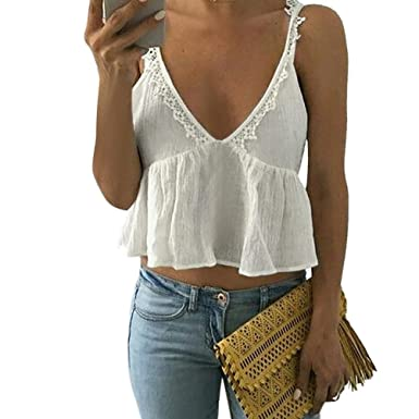 0d36f0a684 BSGSH Women s Summer Sexy Deep V Neck Lace Trim Peplum Beach Tank Top  Camisole (M