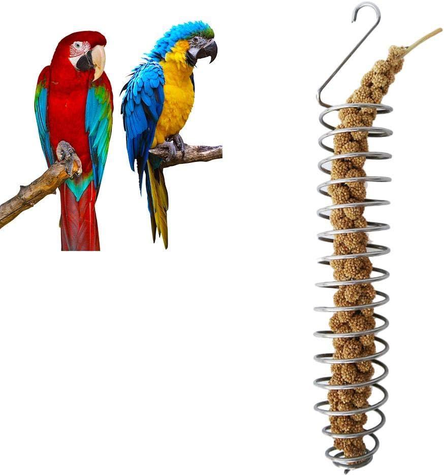 Comedero Colgante para Aves Tubo para el Jardín - Alimentador Amigable Pájaros Carpinteros Resistente Fácil Limpieza Acero inoxidable Comedero para pájaros Canasta De Frutas Y Verduras Juguete De