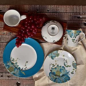 222 Fifth Eliza Teal 16 Piece Dinnerware Set