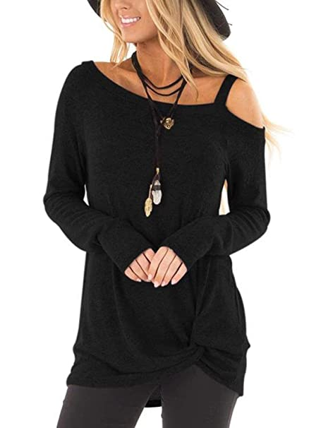 034125bf9fe Famulily Women's Casual Knot Side Twist Soft Cold Shoulder Long Sleeves  Basic Blouse Tops Black S