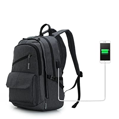 Koolertron Charging Laptop Backpack Lightweight Travel College School Bag Computer Rucksack with USB Charging Port (Grey)