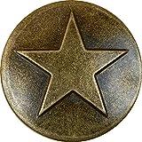 100 Antique Brass Small Star Upholstery Framing Tacks, Decorative Nails 5/8 Dia Long, Western Texas