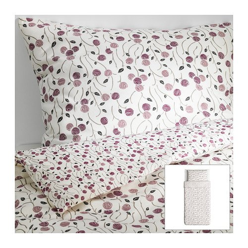 Ikea Majviva Duvet Cover and Pillowcases, Twin, White/lilac