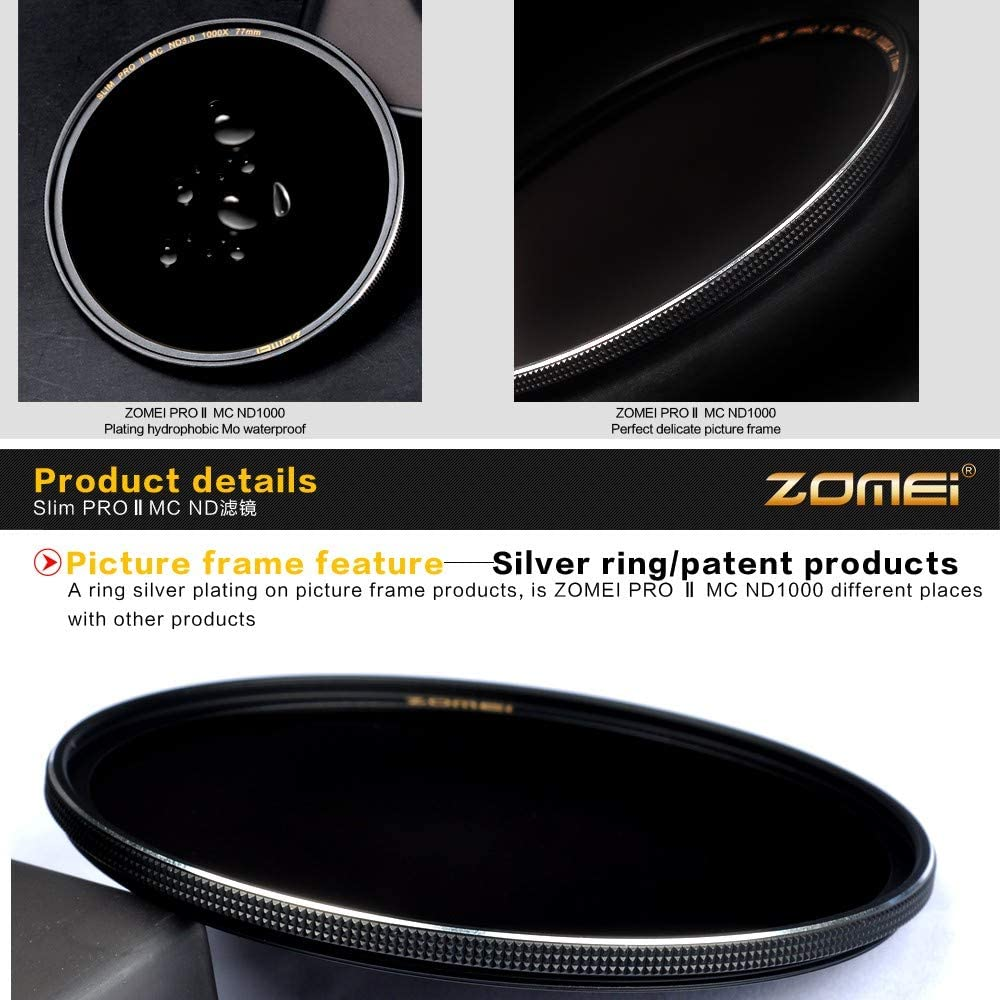 ZOMEI Ultra Slim ND64 Filter Neutral Density Multicoated Optical Glass Filter Edge Sliver Plated 67mm