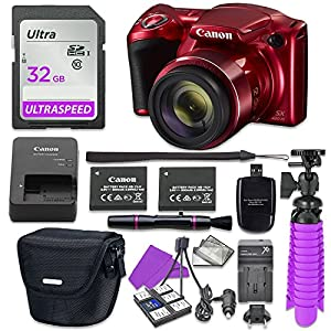 Canon PowerShot SX420 IS Digital Camera (Red) with 32GB SD Memory Card + Accessory Bundle