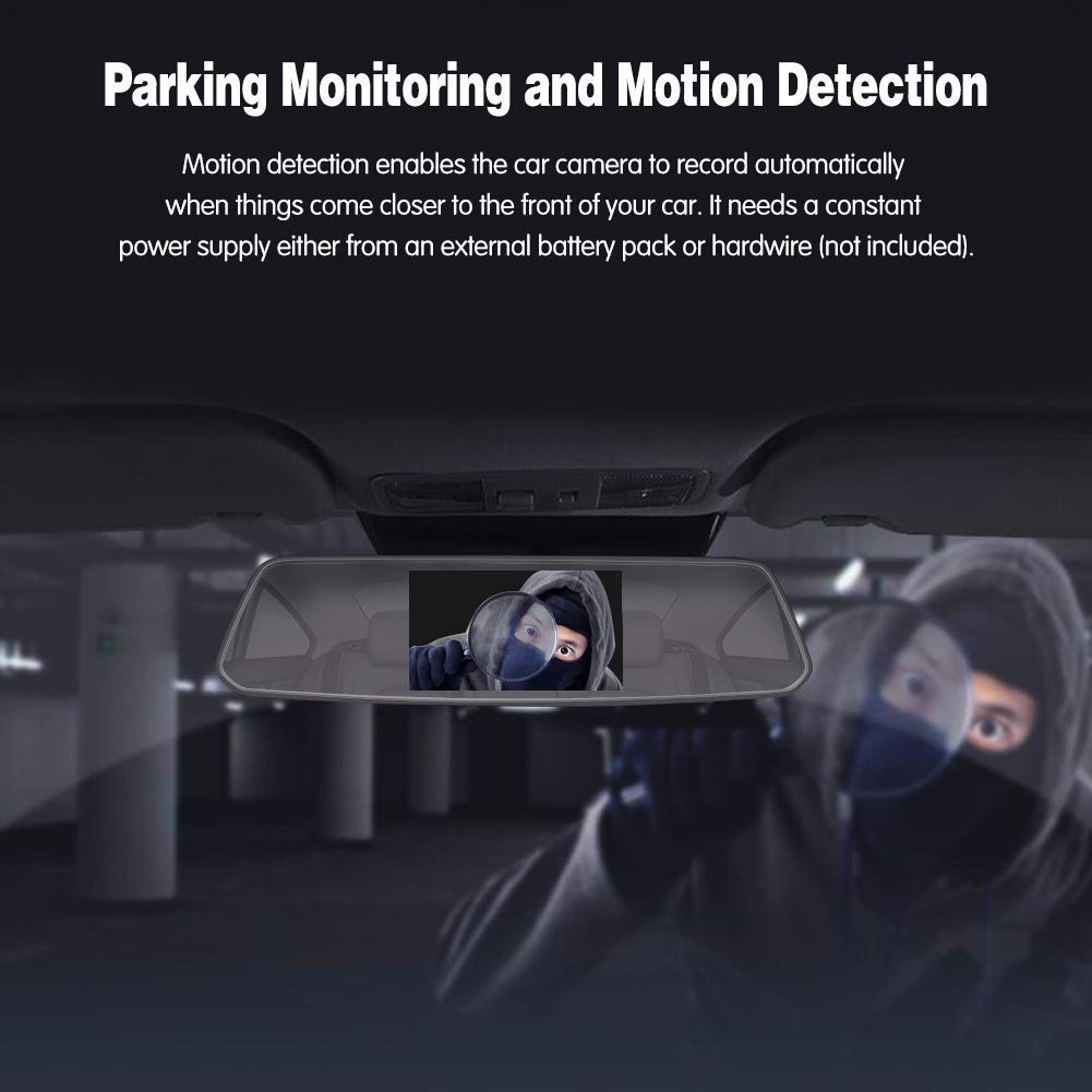fotocamera frontale e posteriore 1080P Full HD visione notturna schermo touch screen 2.5D Dual Lens 2.5D Mirror Dash Cam