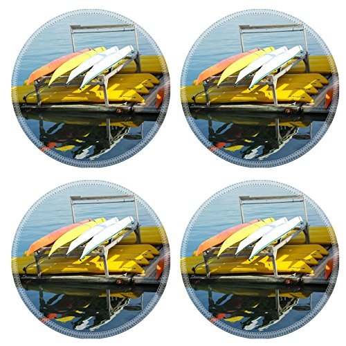 MSD Round Coasters Non-Slip Natural Rubber Desk Coasters design 20802183 BAR HARBOR MAINE JULY 6 Sea kayaks ready for tourists in Bar Harbor on July 6 2013 Bar Harbor is a famous summer colony i -