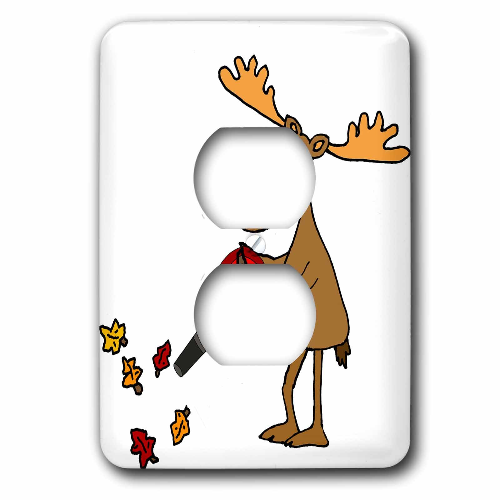 3dRose All Smiles Art Animals - Funny Cute Moose using Leaf Blower Yard Work Cartoon - Light Switch Covers - 2 plug outlet cover (lsp_263877_6)