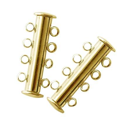 Vococal® 10 Pièces Alliage Brins Magnétique Slide Lock Fermoirs Connecteurs pour Bricolage Collier Bracelet Bijoux Or