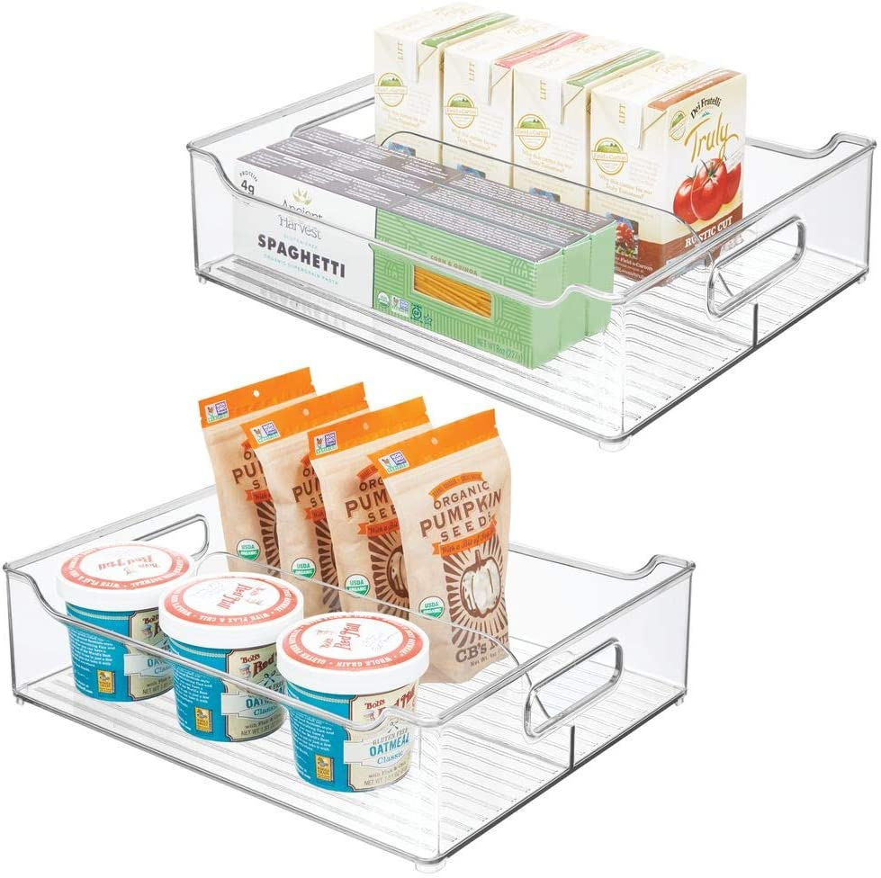 "mDesign Wide Plastic Kitchen Pantry Cabinet, Refrigerator, Freezer Food Storage Bin with Handles - Divided Organizer for Fruit, Yogurt, Snacks, Pasta - BPA Free, 14.5"" Long, 2 Pack - Clear"