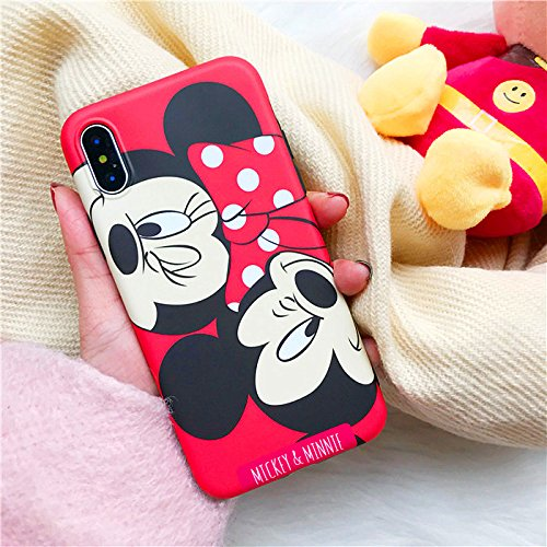 Disney Mickey Minnie Mouse (Ultra Slim Soft TPU Red Mickey Minnie Mouse Case for iPhone X iPhoneX 2017 Shockproof Thin Comfortable Textured Smooth Disney Cartoon Cute Chic Lovely Stylish Cool Girls Women Teens Kids)