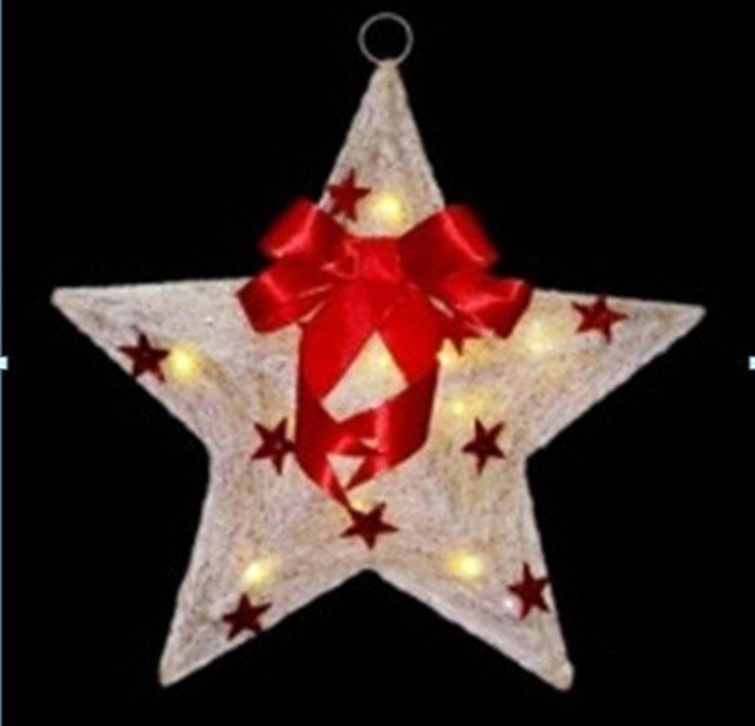 Northlight Lighted Cream and Sisal Hanging Christmas Star Window Decoration, 17'', Red