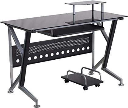 Amazon Com Flash Furniture Black Glass Computer Desk With Pull Out Keyboard Tray And Cpu Cart Furniture Decor