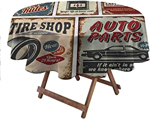 """carmaxsHome Table Cover 1950s Patio Tablecloth Advertising Vehicle Repair 48"""" Round"""