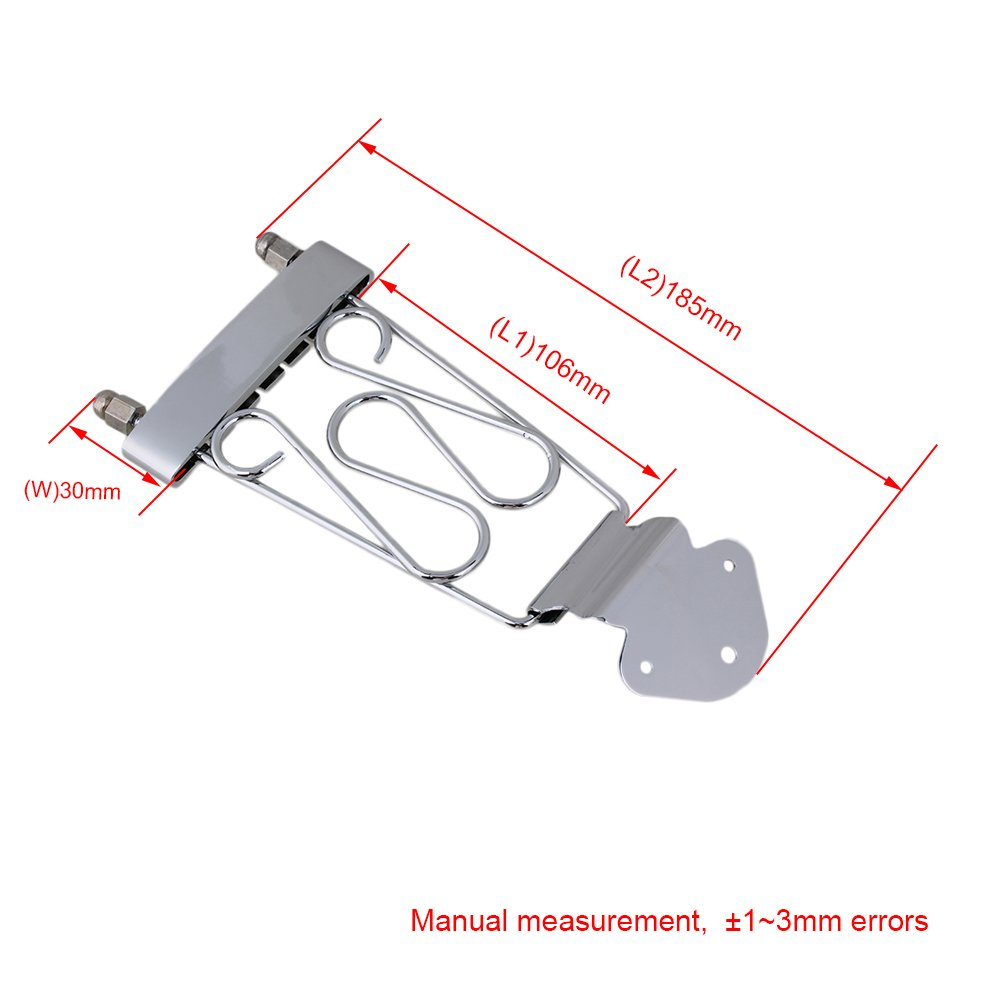 Chrome 6 String Guitar Trapeze Tailpiece Wired Frame for 6 String Guitar