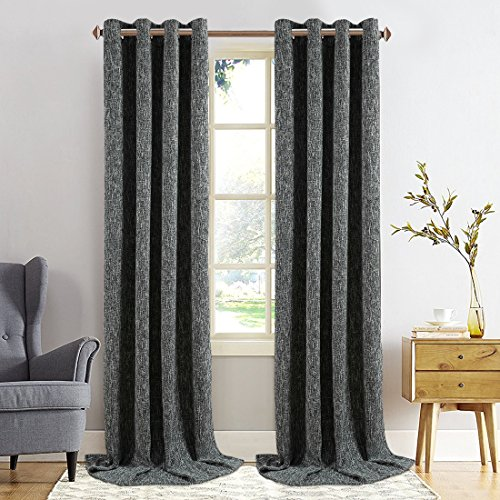 Balichun Luxury Double Layers Linen 100% Blackout Curtain Thermal Insulated Darkening Grommets Burlap Drapes Window Treatment for Bedroom/Living Room 52 by 95 inch Charcoal Black 1 Panel (Double Panel Curtains)