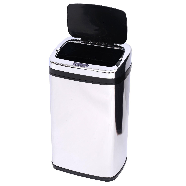 Elegante cubo de basura de acero inoxidable con sensor electrónico de apertura, de 30 litros de capacidad: Amazon.es: Hogar
