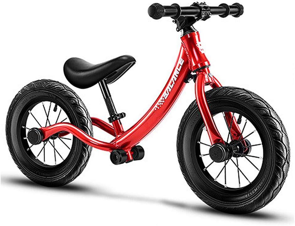 YGBH Bicicleta De Equilibrio para Niños Niños Pequeños Bicicleta De Entrenamiento Sin Pedal De Aleación De Aluminio con Rueda Hinchable Ensanchada Asiento De Altura Ajustable para Niños De 2 A 6 Años