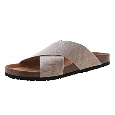 7778f7fa4553 VVFamily Beige Elastic Sandals Women s Comfort Cork Footbed Shoes by (EU  36