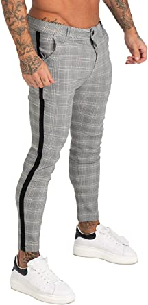 GINGTTO Mens Pencil Trousers Skinny Chinos for Men Stretch Dress Pants Grey Checked 36